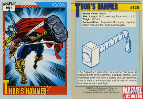 thor s hammer is not that heavy but it is scientifically