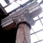 broken column, classic not rustic, making the place ecclectic