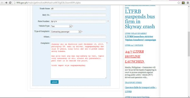 Complaint Form sa LTFRB